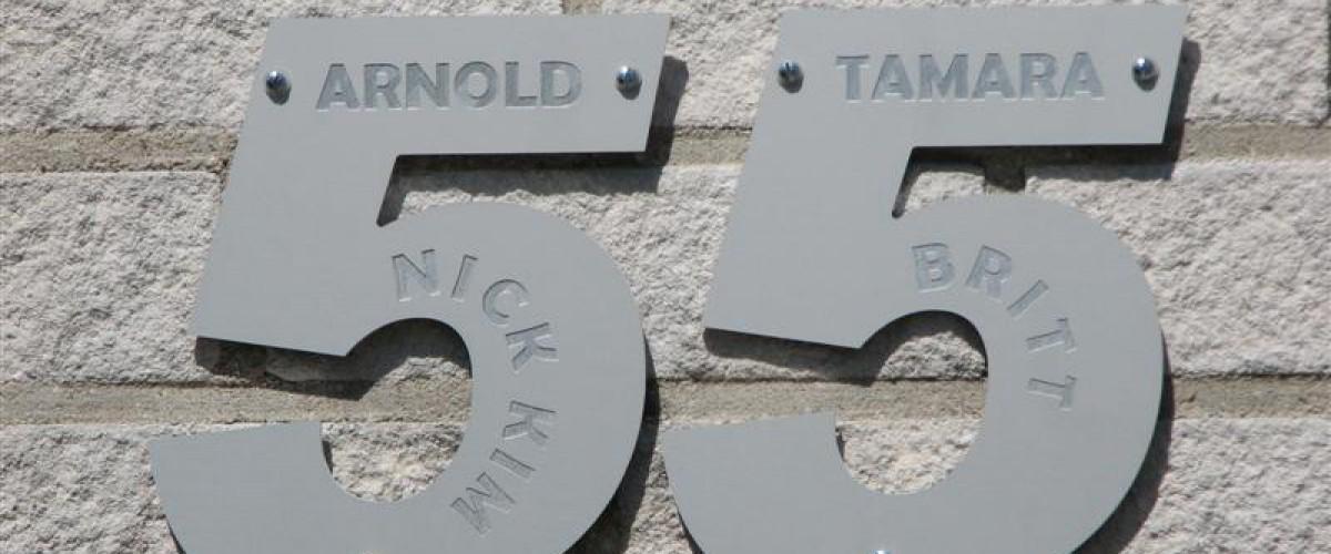 Huisnummer uit geanodiseerd aluminium